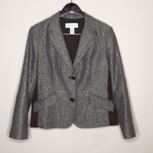 Liz Claiborne XL Brown & Gold Blazer Jacket Elbow
